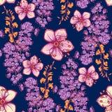 Teste padrão sem emenda floral da mola fresca na obscuridade - fundo azul Fotografia de Stock Royalty Free