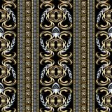 teste padrão sem emenda floral das beiras 3d chaves gregas Vetor bl abstrato Fotos de Stock Royalty Free