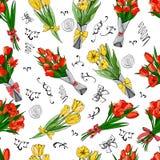 Teste padrão sem emenda floral de flores tiradas mão e das folhas gráficas e coloridas da tulipa do vermelho e do yelow do esboço ilustração do vetor