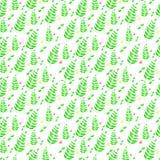 Teste padrão sem emenda floral delicado em verde-claro e em escuro - cores verdes em um fundo branco Imagem de Stock Royalty Free