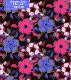 Teste padrão sem emenda floral do vetor Flores desenhados à mão bonitas Cores: castanho escuro, cor-de-rosa, azul Imagem de Stock