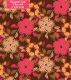 Teste padrão sem emenda floral do vetor Flores desenhados à mão bonitas Cores: marrom, fúcsia, amarelo Foto de Stock