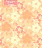 Teste padrão sem emenda floral do vetor Flores desenhados à mão bonitas Tom do pêssego Imagem de Stock Royalty Free