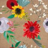 Teste padrão sem emenda floral do vintage ilustração do vetor