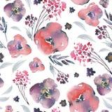 Teste padrão sem emenda floral em um estilo do prima do la, flores vermelhas da aquarela do sumário, galhos, folhas, botões Vinta ilustração stock
