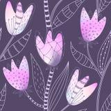 Teste padrão sem emenda floral Entregue flores abstratas tiradas do inclinação com decoração da garatuja Projeto artístico colori Imagem de Stock Royalty Free