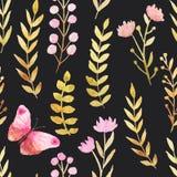 Teste padrão sem emenda floral escuro ilustração royalty free
