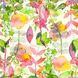 Teste padrão sem emenda floral feliz e brilhante com as flores e as folhas tiradas mão da aquarela ilustração do vetor