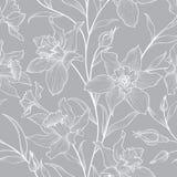Teste padrão sem emenda floral Fundo gravado garatuja da flor Imagens de Stock Royalty Free
