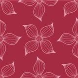 Teste padrão sem emenda floral no fundo vermelho Imagem de Stock
