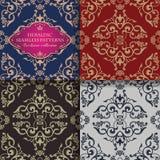 Teste padrão sem emenda floral ornamentado no estilo barroco Ornamento infinito do vintage Teste padrão oriental dourado ilustração royalty free