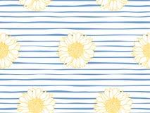 Teste padrão sem emenda floral Papel de parede marinho da listra Ilustração do vetor ilustração royalty free