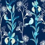 Teste padrão sem emenda floral preto do vintage na obscuridade Imagens de Stock Royalty Free