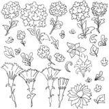 Teste padrão sem emenda floral preto e branco do esboço ilustração royalty free
