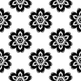 Teste padrão sem emenda floral preto no fundo branco Imagem de Stock Royalty Free