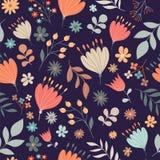 Teste padrão sem emenda floral retro Fotografia de Stock