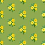 Teste padrão sem emenda floral simples do verde amarelo Ilustração Royalty Free