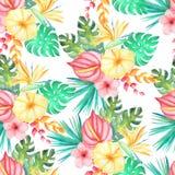 Teste padrão sem emenda floral tropical da aquarela Foto de Stock