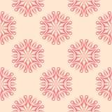 Teste padrão sem emenda floral vermelho no fundo bege Imagens de Stock