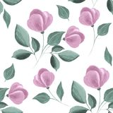 Teste padrão sem emenda floral watercolor Fotos de Stock Royalty Free