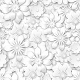 Teste padrão sem emenda - flores brancas com efeito 3d Imagens de Stock