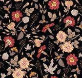 Teste padrão sem emenda Flores isoladas realísticas Vetor da gravura do desenho do hibisc do primavera do petúnia do fundo do vin ilustração royalty free
