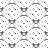 Teste padrão sem emenda forjado redondo preto elegante Vector o fundo preto e branco com a decoração da seta, do círculo e do cor Imagens de Stock Royalty Free