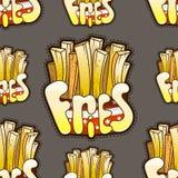 Teste padrão sem emenda fresco com batatas fritas Ilustração do vetor Fotos de Stock