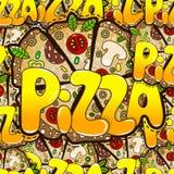 Teste padrão sem emenda fresco com de pizza saboroso Ilustração f do vetor Fotografia de Stock Royalty Free