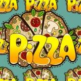 Teste padrão sem emenda fresco com de pizza saboroso Ilustração o do vetor Imagens de Stock