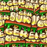 Teste padrão sem emenda fresco com Hamburger dos desenhos animados Illustrati do vetor Imagem de Stock