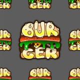 Teste padrão sem emenda fresco com hamburgueres Ilustração do vetor Fotografia de Stock