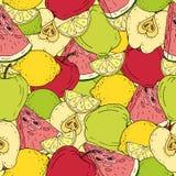 Teste padrão sem emenda Frutos aleatórios Apple, cal, limão e melancia ilustração stock