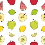 Teste padrão sem emenda Frutos coloridos no fundo branco ilustração stock
