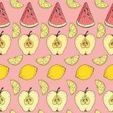Teste padrão sem emenda Frutos coloridos no fundo cor-de-rosa Fotografia de Stock Royalty Free