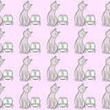 Teste padrão sem emenda Fundo cor-de-rosa Gato, peixe, aquário Imagens de Stock