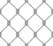 Teste padrão sem emenda, fundo, corda cinzenta tecida na rede de pesca do formulário, no branco ilustração royalty free