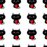 Teste padrão sem emenda Gato preto bonito que guarda o coração vermelho caráter engraçado do animal dos desenhos animados Gatinho Foto de Stock