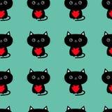 Teste padrão sem emenda Gato preto bonito que guarda o coração vermelho caráter engraçado do animal dos desenhos animados Gatinho Foto de Stock Royalty Free