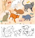 Teste padrão sem emenda: Gatos ilustração stock