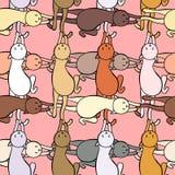 Teste padrão sem emenda Gatos coloridos ilustração royalty free