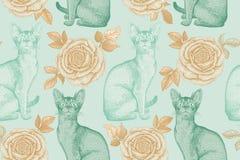 Teste padrão sem emenda Gatos e rosas Cópia da folha da hortelã e de ouro Foto de Stock Royalty Free