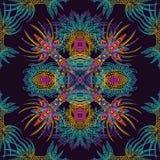Teste padrão sem emenda geométrico asteca do vetor Fundo com um ornamento latino-americano Imagens de Stock Royalty Free