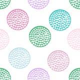 Teste padrão sem emenda geométrico azul, verde, cor-de-rosa, violeta e branco com às bolinhas do grunge Imagens de Stock Royalty Free