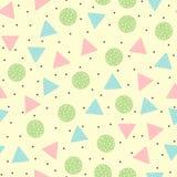 Teste padrão sem emenda geométrico bonito Em volta de e formas coloridas triangulares Tirado à mão Imagens de Stock
