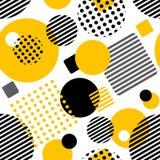 Teste padrão sem emenda geométrico com círculos, quadrados, listras Imagens de Stock