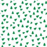 Teste padrão sem emenda geométrico da árvore de Natal Gráfico da forma Ilustração do vetor Projeto do fundo Textura abstrata à mo Fotos de Stock Royalty Free