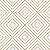 Teste padrão sem emenda geométrico de linhas ou de cursos diagonais da prata do ouro Foto de Stock