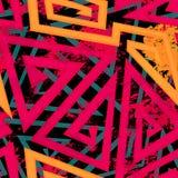 Teste padrão sem emenda geométrico do labirinto vermelho com efeito do grunge Imagens de Stock Royalty Free