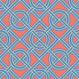 teste padrão sem emenda geométrico Fundo azul com projeto do vermelho e do amarelo Imagens de Stock
